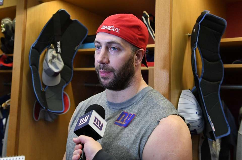 Connor Barwin of the Giants speaks to the