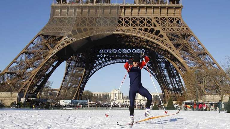 Daniel Lacroix of Chevilly-Larue, practices cross-country skiing on