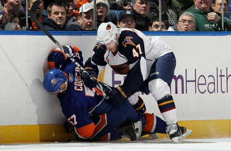Rich Peverley of the Atlanta Thrashers commits a