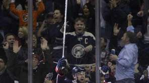 Columbus Blue Jackets' Rick Nash celebrates his goal