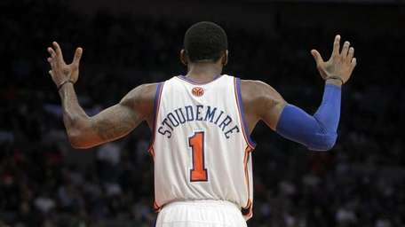 New York Knicks' Amare Stoudemire reacts during the