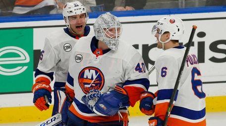Islanders goalie Robin Lehner and defenseman Ryan Pulock