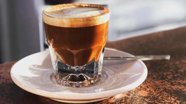 A cortado at Karmic Grind, which has opened