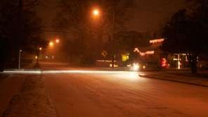 Snow froze on Park Avenue in Babylon as