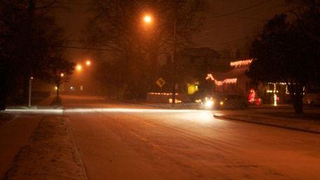 Snow froze on Park Avenue in Babylon as