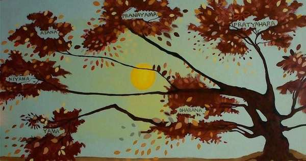 """""""Tree of Life"""" acrylic-based painted mural at Yoga"""