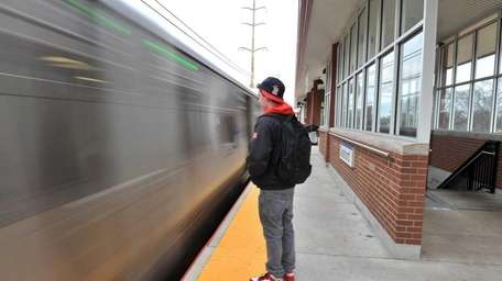 A passenger waits to board a in Seaford