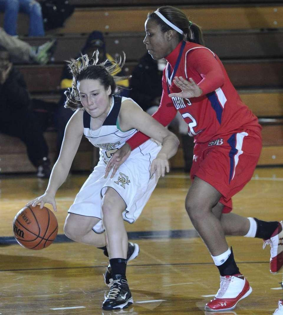 St. Anthony's Kerrin Maurer dribbles the ball past