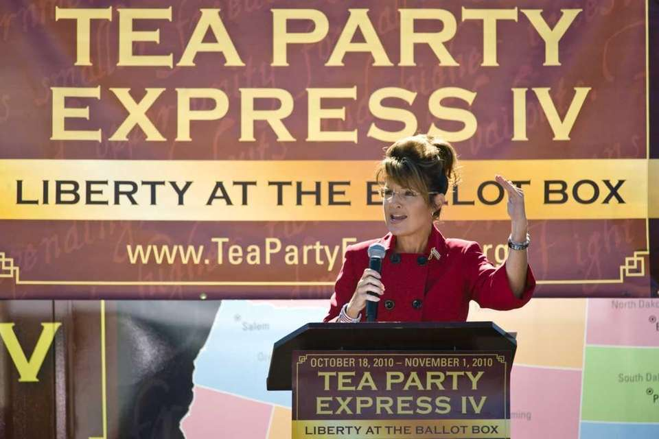 Former Alaska Gov. Sarah Palin speaks to the
