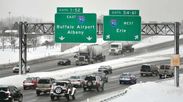 Traffic slows while entering the New York state