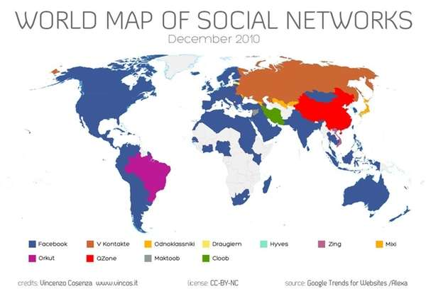 Social Networking World Map
