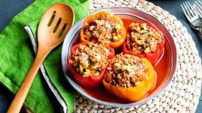 Bell peppers stuffed with sweet Italian turkey sausage,