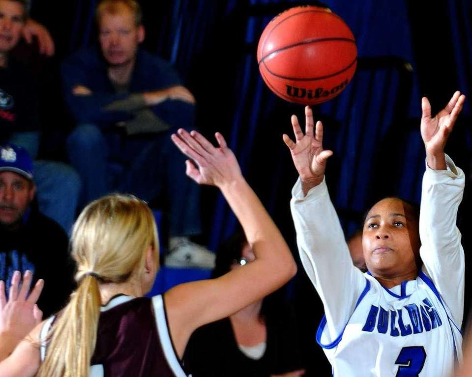 Charise Wilson, right, shoots a jumper in the