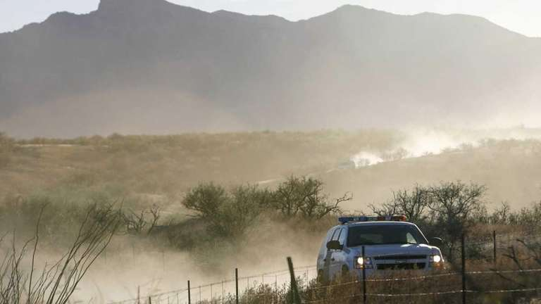A U.S. Border Patrol vehicle returns Wenesday from