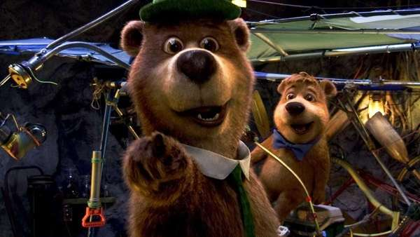 Yogi Bear, left, as voiced by Dan Aykroyd,