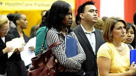Participants at a job fair at Hofstra University