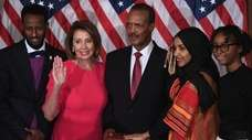 With House Speaker Nancy Pelosi, Ilhan Omar, second