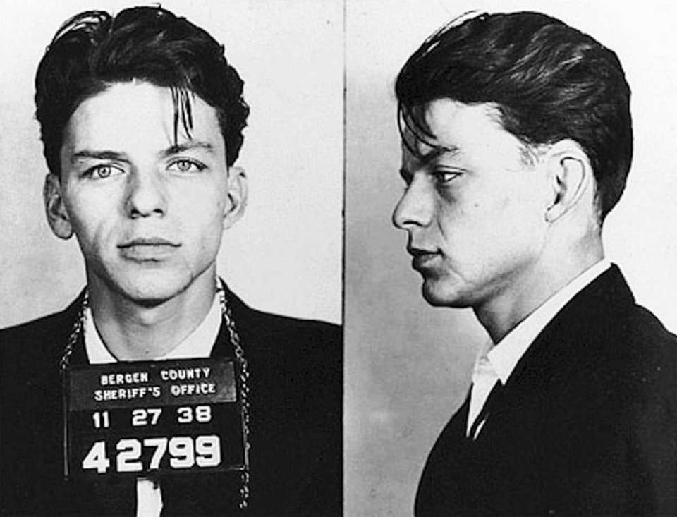The iconic mug shot of Frank Sinatra, taken