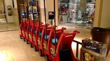 Racecar-themed Smarte Wheels Tablet Strollers can be rented