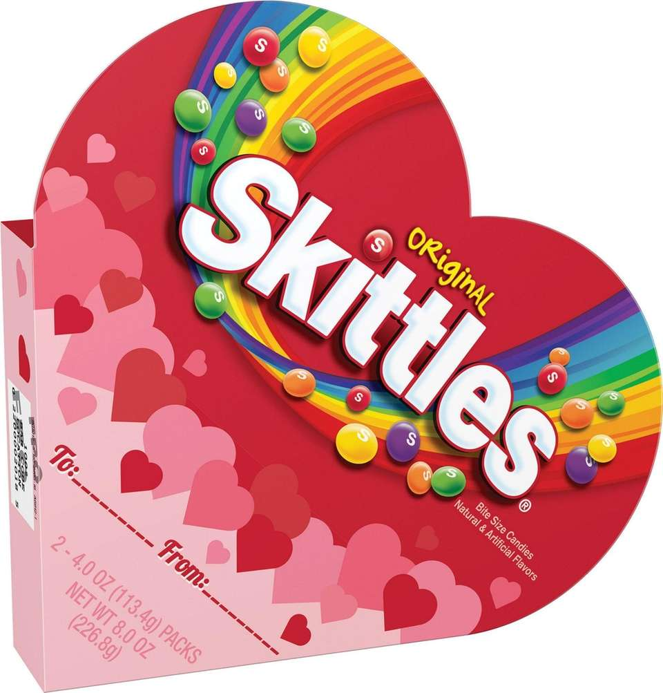 This Skittles filled heart features two packs of