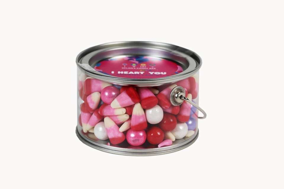 Filled with an assortment of gumballs and Valentine's