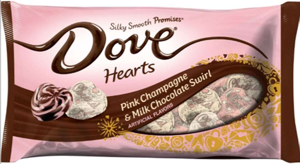 These milk chocolate swirl heart-shaped candies come in