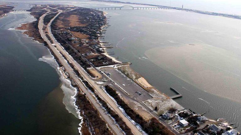 An aerial photo taken over Oak Beach. (Dec.