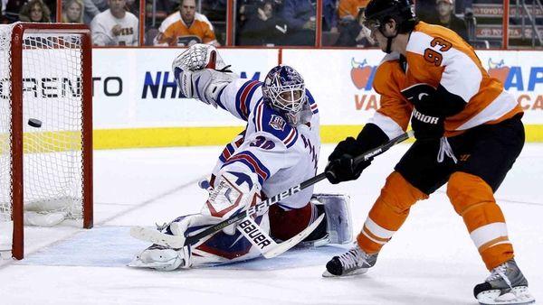 Philadelphia Flyers' Nikolay Zherdev scores past New York
