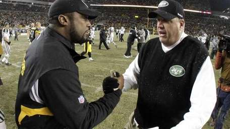 Jets coach Rex Ryan, right, and Steelers coach