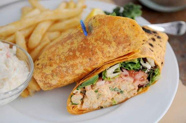 Crawfish salad is served in a wrap at