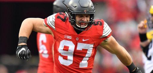 Nick Bosa of the Ohio State Buckeyes celebrates