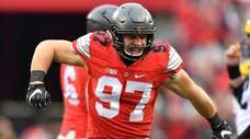 Nick Bosa of the Ohio State Buckeyes celebrates