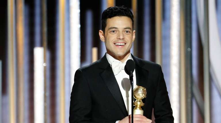 Rami Malek accepts the Golden Globe for best