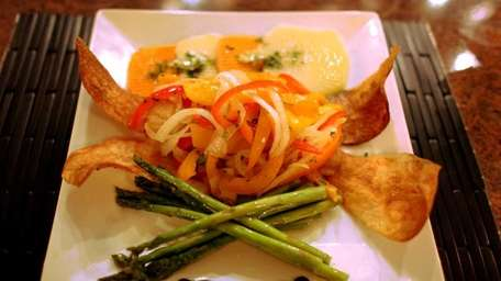 Roasted cod is one of the entrees served
