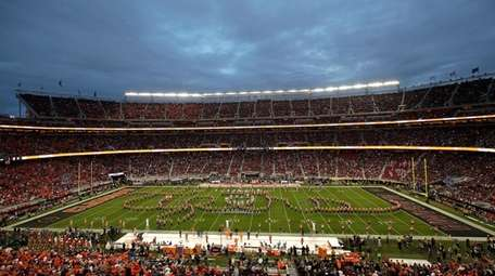 The Clemson band performs before the NCAA college