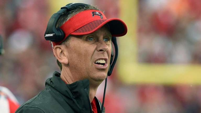 Buccaneers offensive coordinator Todd Monken watches play against