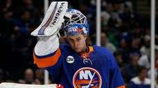 Thomas Greiss of the Islanders looks on during