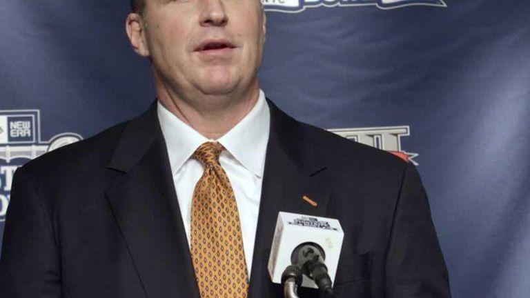 Syracuse head coach Doug Marrone speaks to reporters