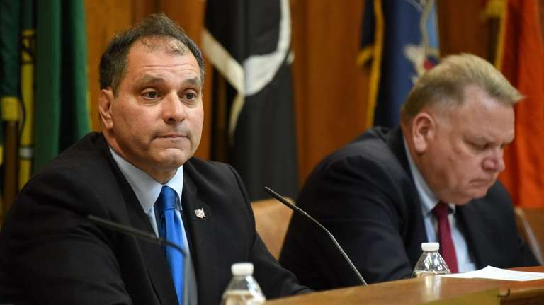 Oyster Bay Supervisor Joseph Saladino faced questions from