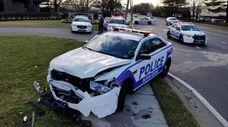 The crash scene in Melville on Thursday morning.