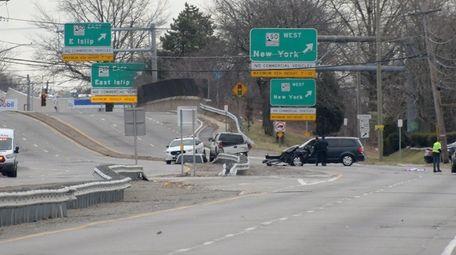 The crash scene on Route 109 near the