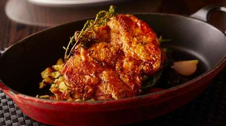 The organic chicken with vegetables, spaetzle, and thyme
