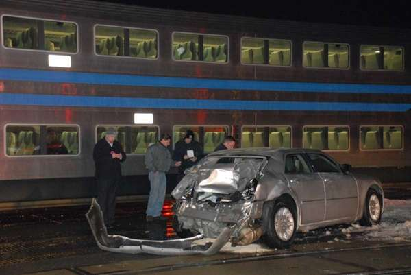 Long Island Railroad Train Hits Car