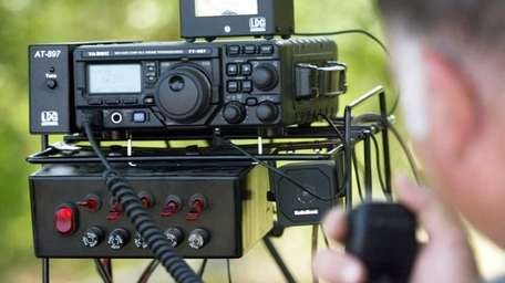 A ham radio setup is used during The