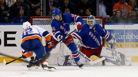 Josh Bailey of the Islanders scores a goal