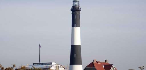 Construction of the second Fire Island Lighthouse was