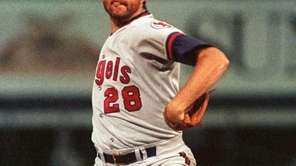 Angels pitcher Bert Blyleven throws a pitch against
