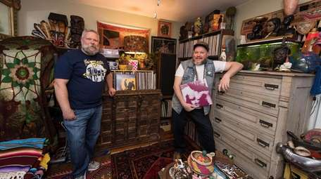 Joe and Andrew Schipper in the record room