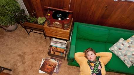 Veronica Sayers in the record room at her