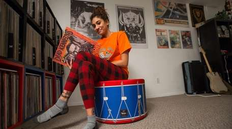 Amanda Schutzman with her record collection in the